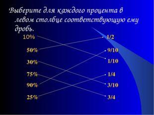 10% Выберите для каждого процента в левом столбце соответствующую ему дробь.