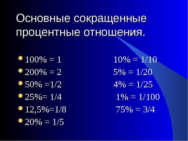 Основные сокращенные процентные отношения. 100% = 1 10% = 1/10 200% = 2 5% =...