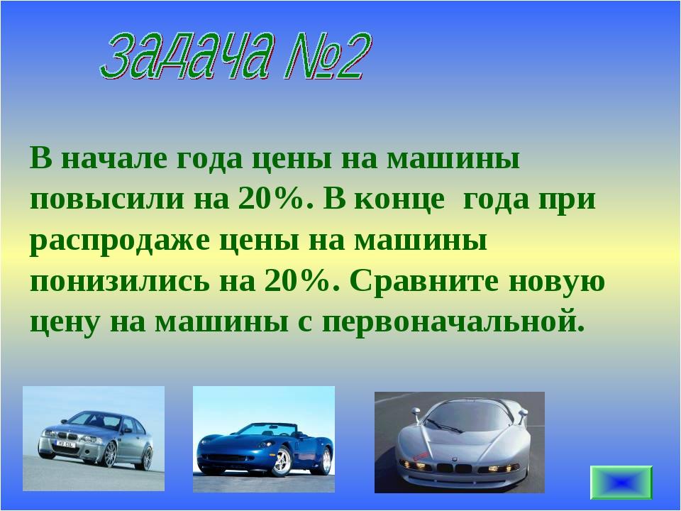 В начале года цены на машины повысили на 20%. В конце года при распродаже цен...