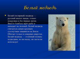 Белый медведь Белый (полярный) медведь — русский аналог панды, только покрупн