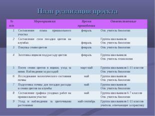План реализации проекта № п/пМероприятияВремя проведенияОтветственные 1Со