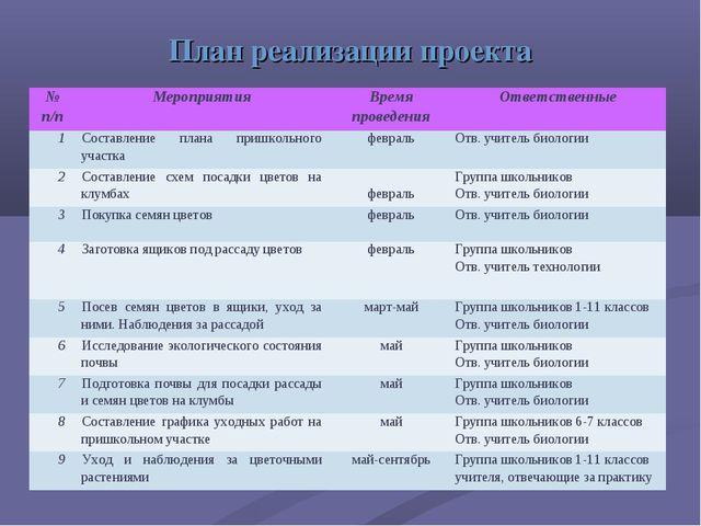 План реализации проекта № п/пМероприятияВремя проведенияОтветственные 1Со...