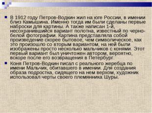 В 1912 году Петров-Водкин жил на юге России, в имении близ Камышина. Именно т