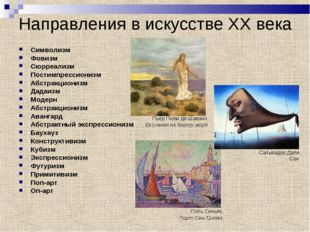 Направления в искусстве XX века Символизм Фовизм Сюрреализм Постимпрессиониз