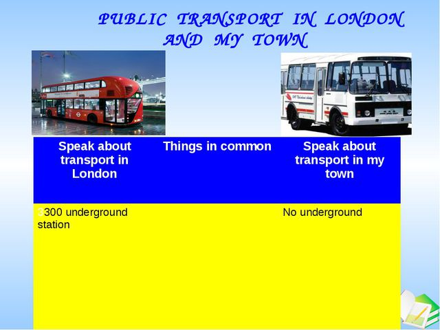PUBLIC TRANSPORT IN LONDON AND MY TOWN Speak about transport in London Thin...