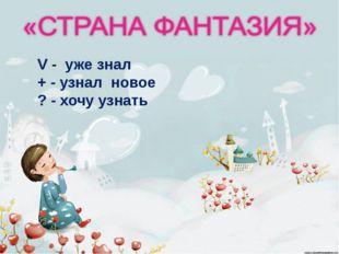 http://aida.ucoz.ru V - уже знал + - узнал новое ? - хочу узнать