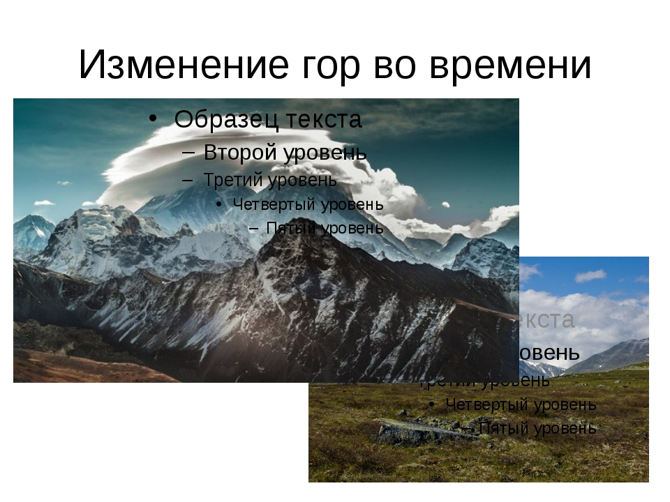 Изменение гор во времени