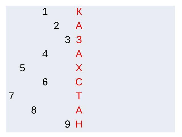 11 1 К 2 А 3 З 4 А 5 Х 6 С 7 Т 8 А 9 Н