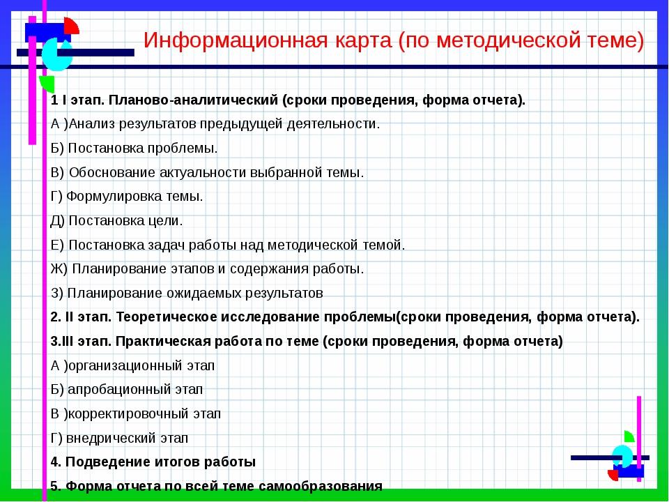 Информационная карта (по методической теме) 1 I этап. Планово-аналитический (...