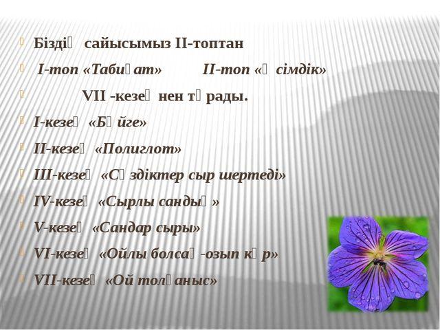 Біздің сайысымыз ІІ-топтан І-топ «Табиғат» ІІ-топ «Өсімдік» VІІ -кезеңнен тұр...