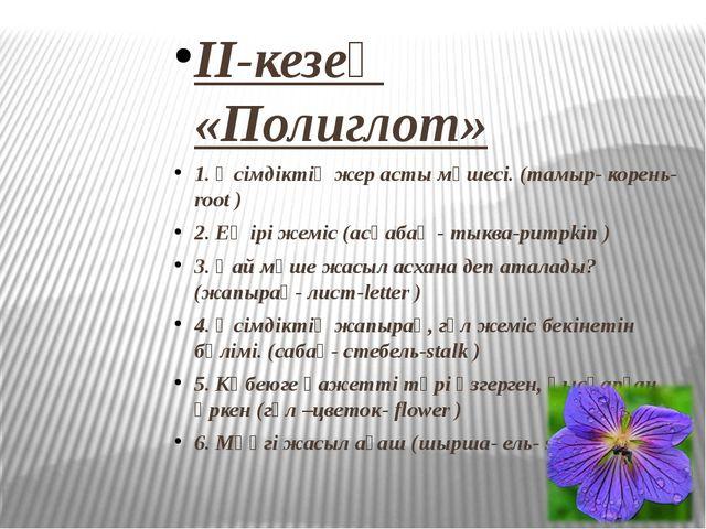 II-кезең «Полиглот» 1. Өсімдіктің жер асты мүшесі. (тамыр- корень-root ) 2. Е...