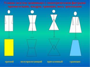 прямой полуприлегающий приталенный трапеция Условно силуэты сравнивают с гео