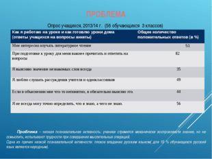 ПРОБЛЕМА Опрос учащихся, 2013/14 г. (56 обучающихся 3 классов) Проблема – ни