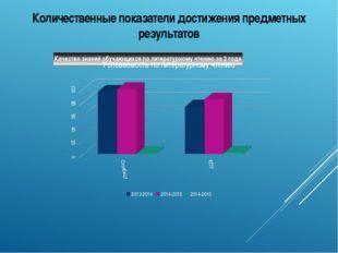 Количественные показатели достижения предметных результатов