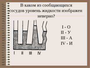 В каком из сообщающихся сосудов уровень жидкости изображен неверно? I - О II