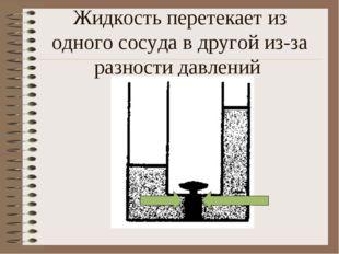 Жидкость перетекает из одного сосуда в другой из-за разности давлений