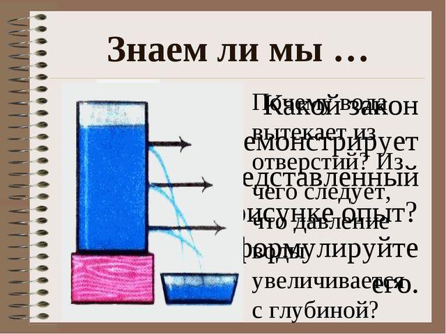 Знаем ли мы … Какой закон демонстрирует представленный на рисунке опыт? Сформ...