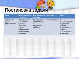 Постановка задачи цель Деятельность учителя Деятельность ученика методы УУД П
