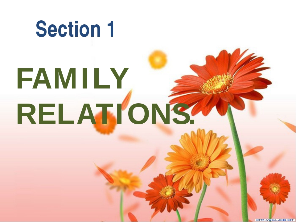 FAMILY RELATIONS. Section 1