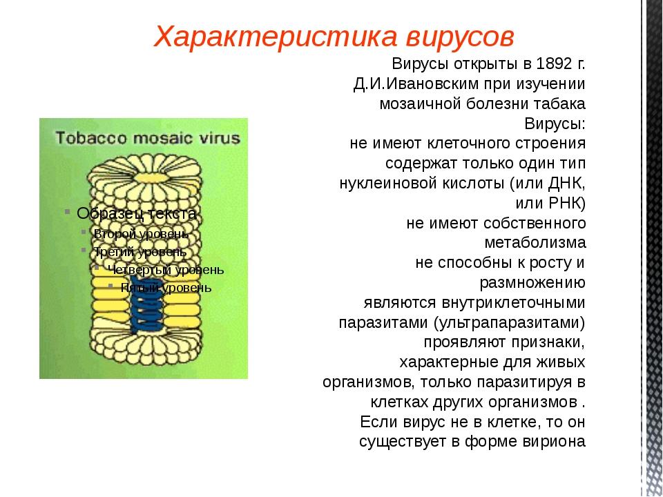 Характеристика вирусов Вирусы открыты в 1892 г. Д.И.Ивановским при изучении м...