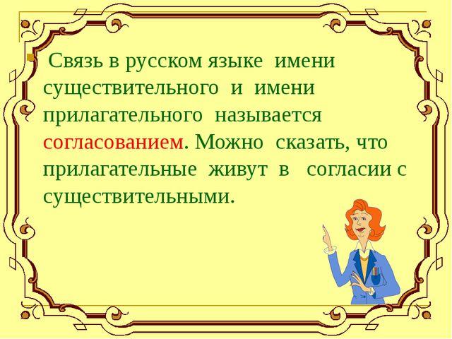 Связь в русском языке имени существительного и имени прилагательного называе...