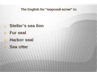 "The English for ""морской котик"" is: Steller's sea lion Fur seal Harbor seal S"