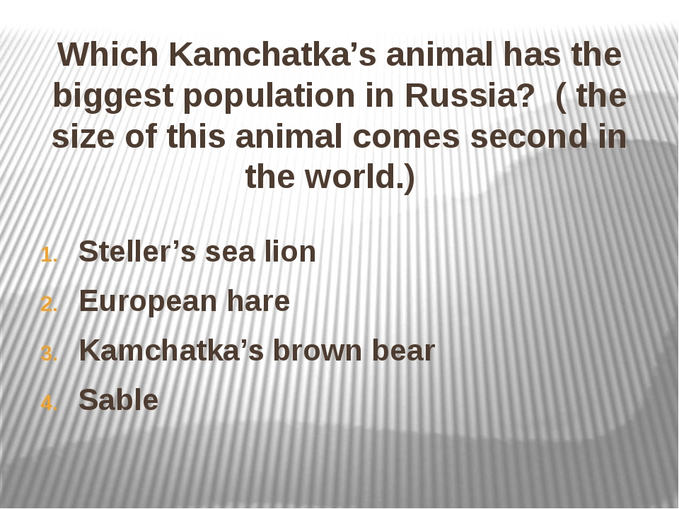 Which Kamchatka's animal has the biggest population in Russia? ( the size of...