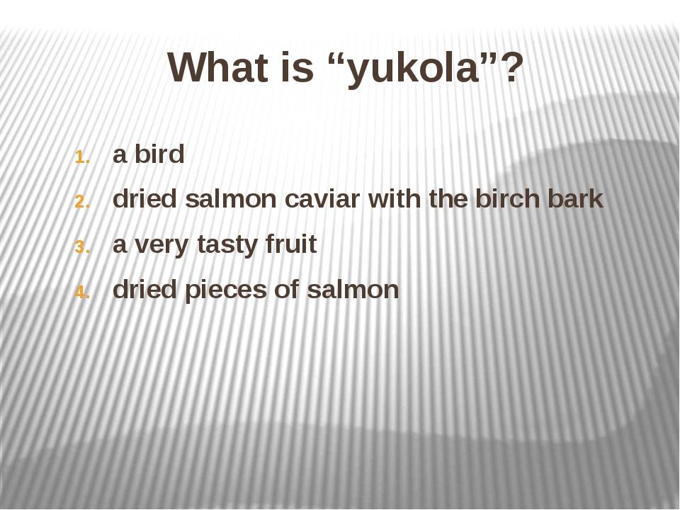 "What is ""yukola""? a bird dried salmon caviar with the birch bark a very tasty..."