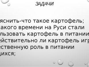 ЗАДАЧИ 1)Выяснить-что такое картофель; 2)С какого времени на Руси стали испол