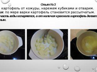 Опыт № 3 Очистим картофель от кожуры, нарежем кубиками и отварим. Наблюдения: