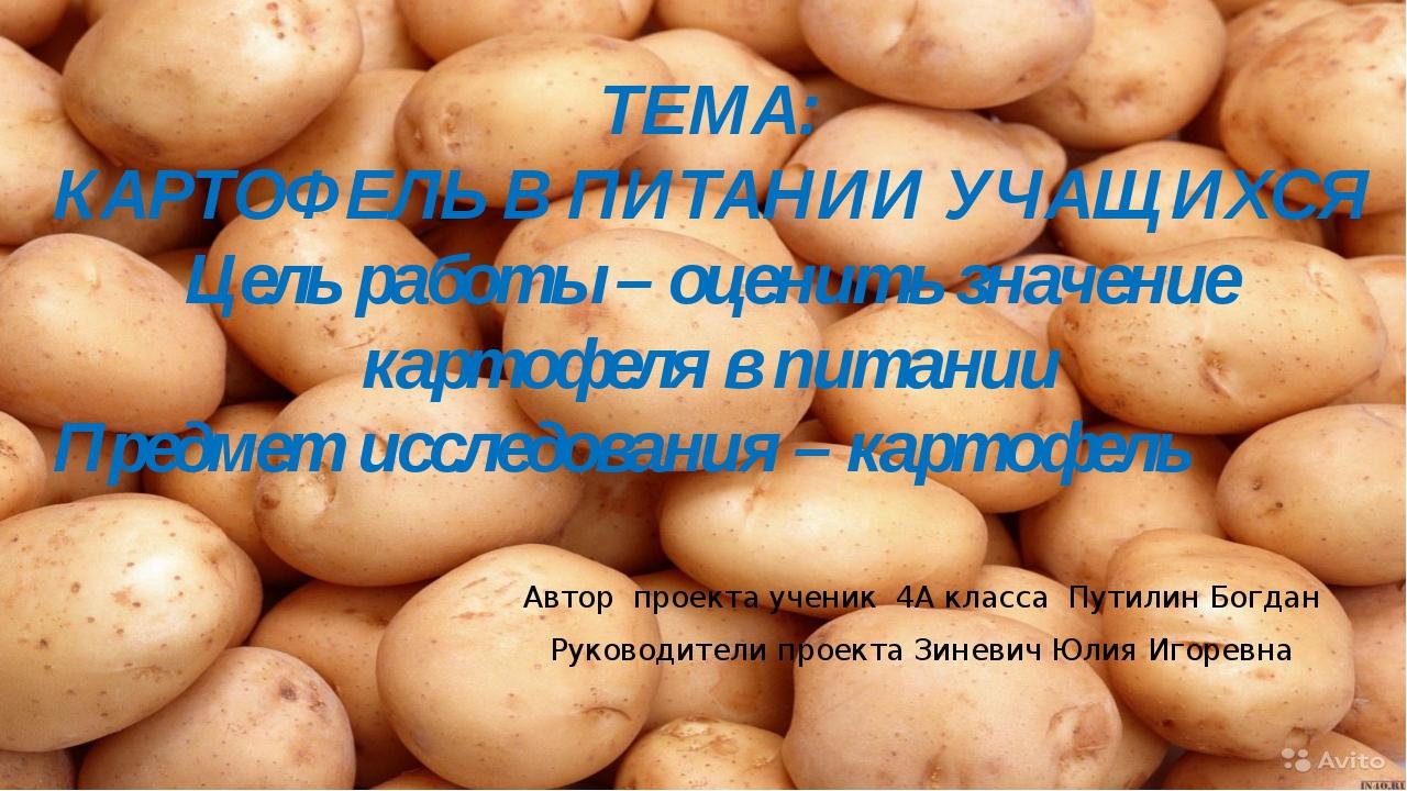 ТЕМА: КАРТОФЕЛЬ В ПИТАНИИ УЧАЩИХСЯ Цель работы – оценить значение картофеля в...