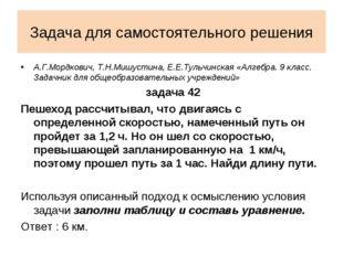 Задача для самостоятельного решения А.Г.Мордкович, Т.Н.Мишустина, Е.Е.Тульчин