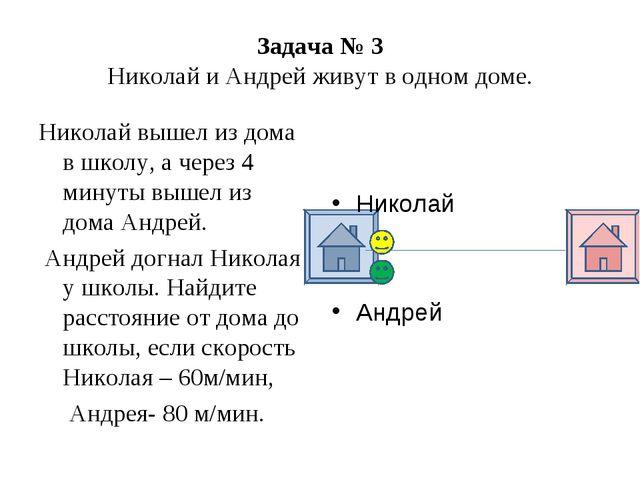 Задача № 3 Николай и Андрей живут в одном доме. Николай вышел из дома в школ...