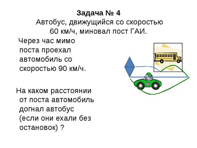 Задача № 4 Автобус, движущийся со скоростью 60 км/ч, миновал пост ГАИ. Через...