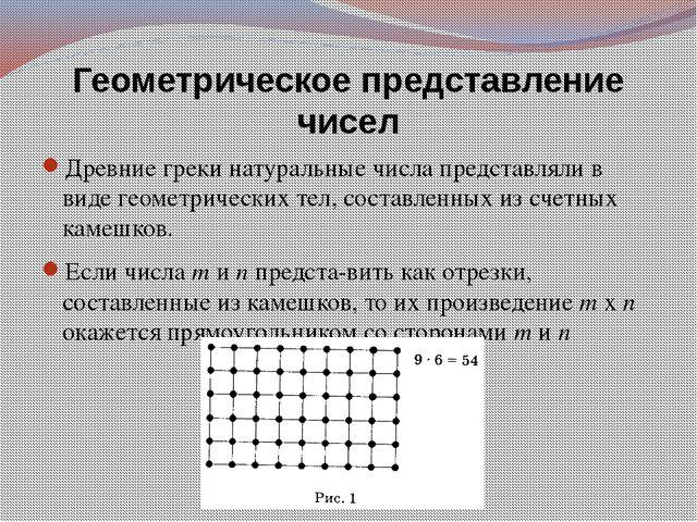 Геометрическое представление чисел Древние греки натуральные числа представля...