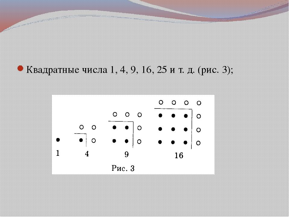 Квадратные числа 1, 4, 9, 16, 25 и т. д. (рис. 3);