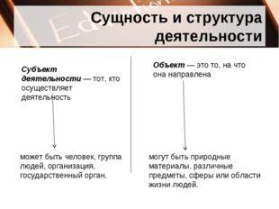 Сущность и структура деятельности Субъект деятельности— тот, кто осуществляе