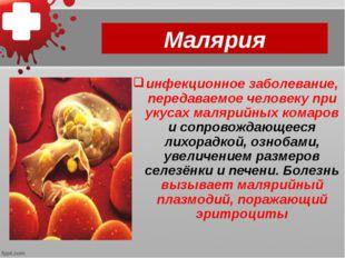 Малярия инфекционное заболевание, передаваемое человеку при укусах малярийных