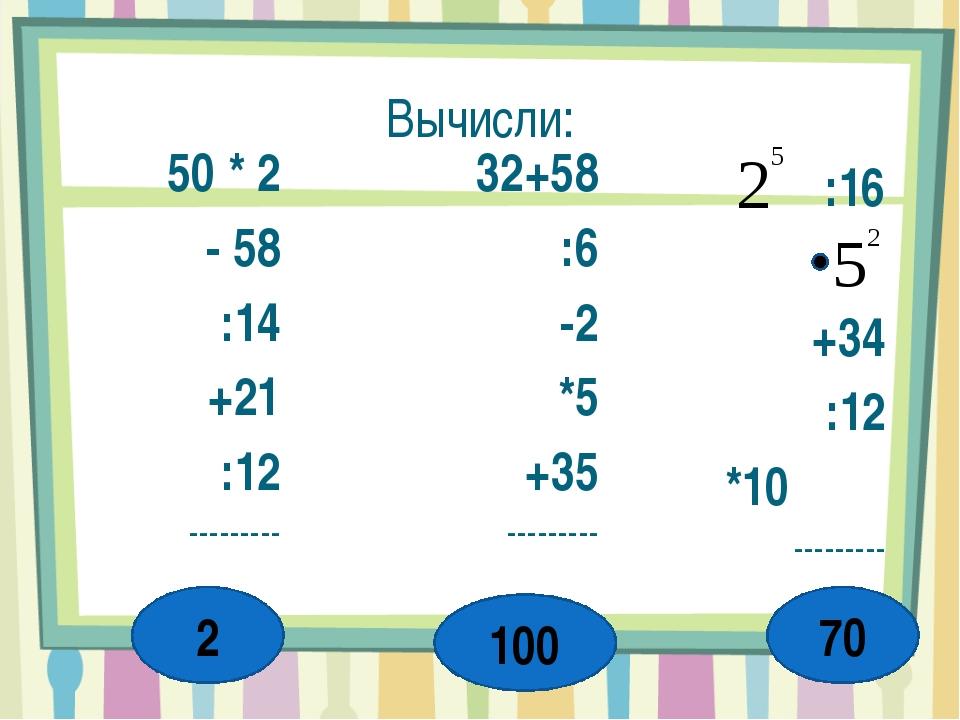 Вычисли: 50 * 2 - 58 :14 +21 :12 --------- 32+58 :6 -2 *5 +35 --------- :16 +...
