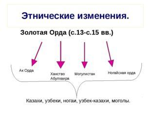 Этнические изменения. Золотая Орда (с.13-с.15 вв.) Ак Орда Ханство Абулхаира