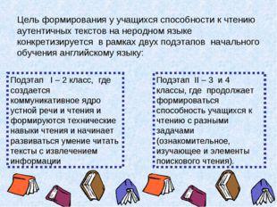 Цель формирования у учащихся способности к чтению аутентичных текстов на неро