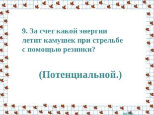 9. За счет какой энергии летит камушек при стрельбе с помощью резинки? назад