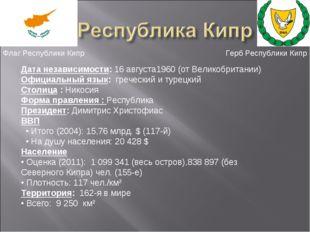 Дата независимости: 16 августа1960(отВеликобритании) Официальный язык: греч