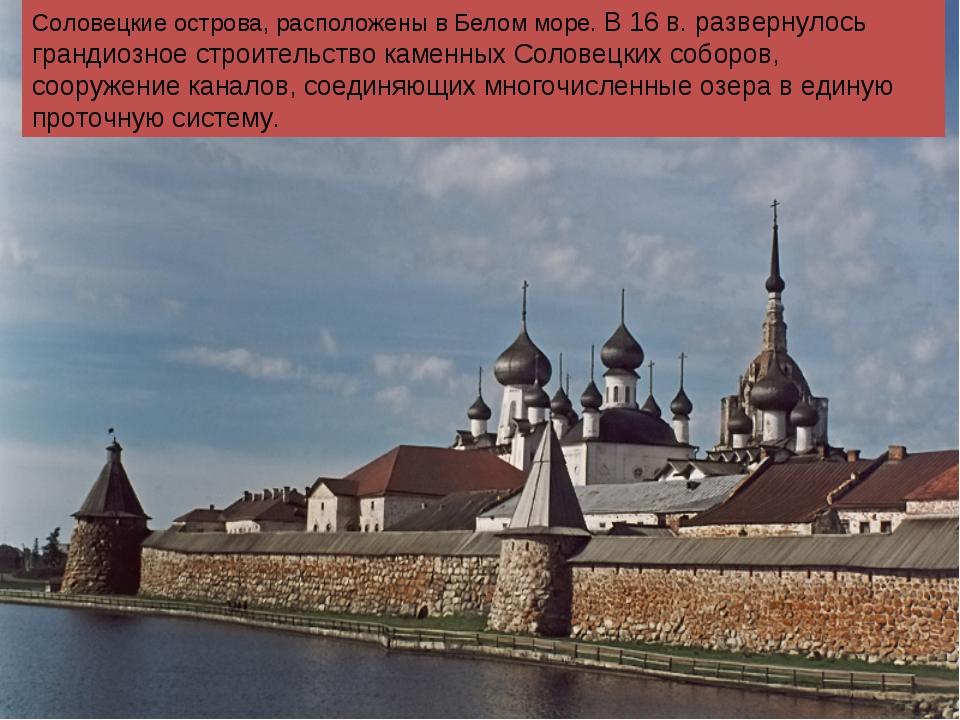 Соловецкие острова, расположены в Белом море. В 16 в. развернулось грандиозно...