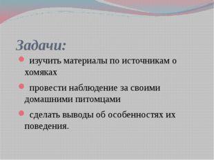 Задачи: изучить материалы по источникам о хомяках провести наблюдение за свои