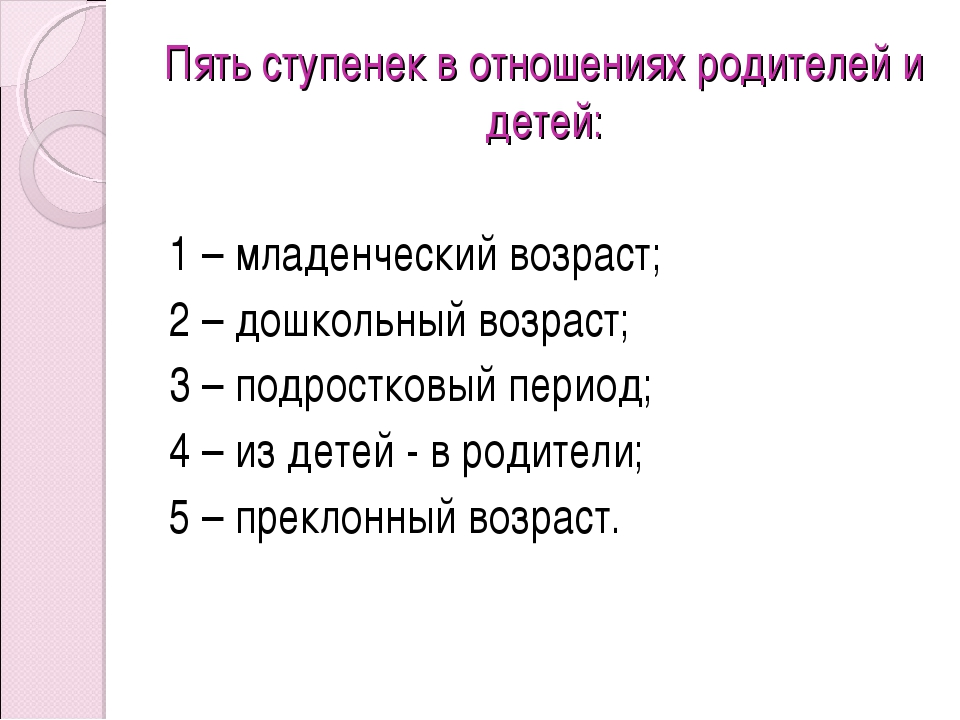 Пять ступенек в отношениях родителей и детей: 1 – младенческий возраст; 2 –...