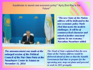 """Kazakhstan to launch new economic policy"""" Nyrly Zhol-Way to the Future"""" The a"""