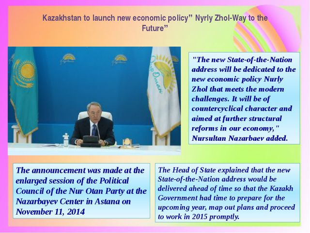"""Kazakhstan to launch new economic policy"""" Nyrly Zhol-Way to the Future"""" The a..."""