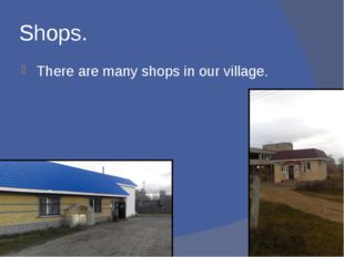 Shops. There are many shops in our village.