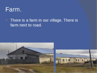 Farm. There is a farm in our village. There is farm next to road.